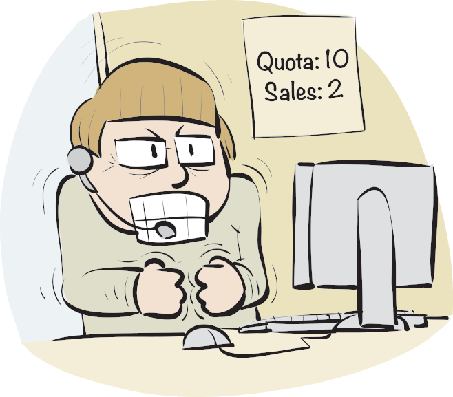 Illustration of stressed sales person
