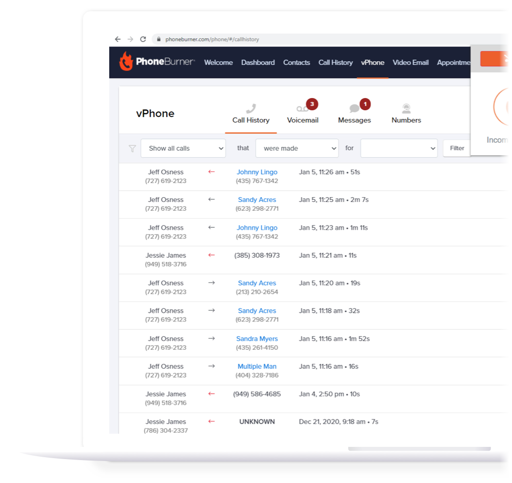 Manage your call activity and connect with inbound leads.